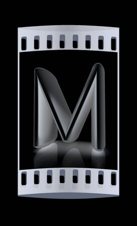 metall: 3D metall letter M isolated on black. The film strip