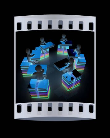 literary man: 3d mans with book sits on a colorful glossy books on a black background. The film strip Stock Photo