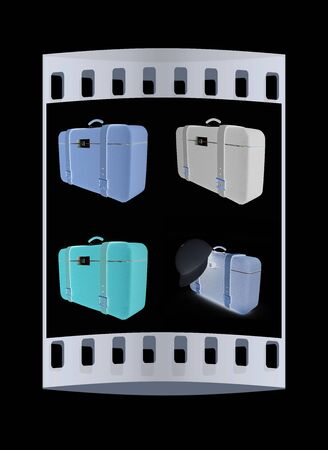 clear skin: Travelers suitcase set on a black background. The film strip