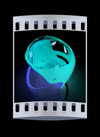x country: Bicycle helmet on a white background. The film strip