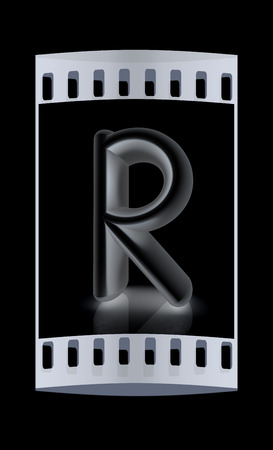 metall: 3D metall letter R isolated on black. The film strip Stock Photo