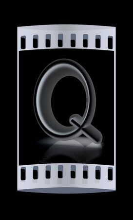 metall: 3D metall letter Q isolated on black. The film strip