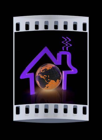 habitable: 3d house icon. The film strip