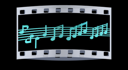 stave: Various music notes on stave. Red 3d. The film strip Stock Photo