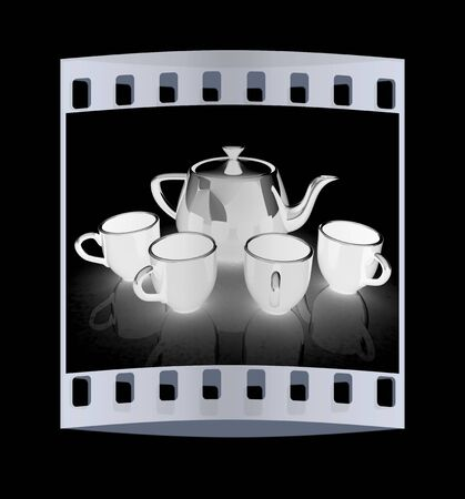 fervent: black teapot and cups. The film strip