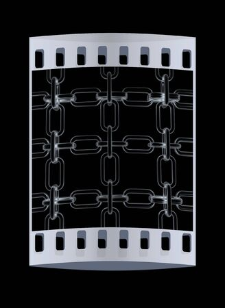 interlink: Metall chains isolated on black background. The film strip