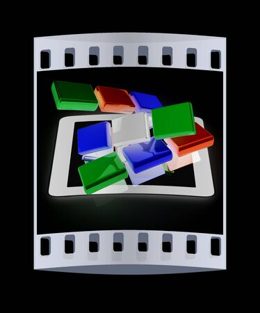 hp: Tablet PC with colorful CMYK application icons isolated on black background. The film strip