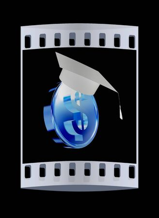 scholar: Graduation hat on gold dollar coin. The film strip