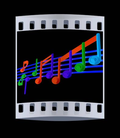 stave: Various music notes on stave. Colorfull 3d. The film strip Stock Photo