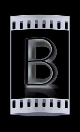 metall: 3D metall letter B isolated on black. The film strip