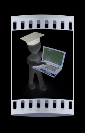 valedictorian: 3d man in graduation hat with laptop on a black background. The film strip
