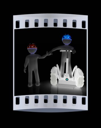 amigos abrazandose: 3d people in riding on a personal and ecological transport in helmet and holding hands. Concept of partnership. The film strip Foto de archivo