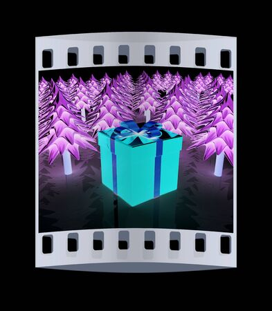 dacorated: Christmas trees and gift on a black background. The film strip Stock Photo