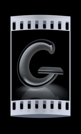 metall: 3D metall letter G isolated on black. The film strip Stock Photo