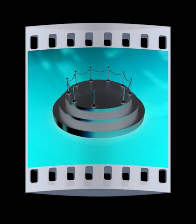 stanchion: 3D podium background. The film strip