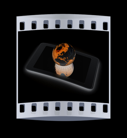 gprs: Phone and earch on black background.Global internet concept. The film strip