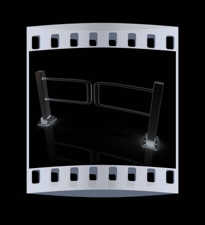 turnstile: Three-dimensional image of the turnstile on a black background. The film strip