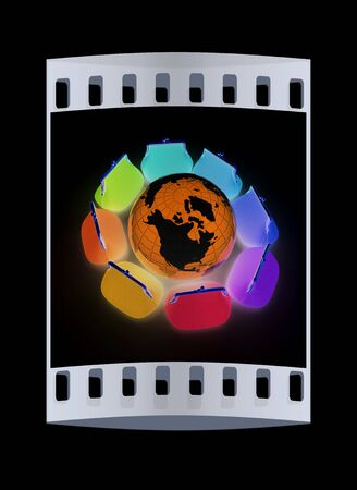 purses: Earth and purses. On-line concept on a black background. The film strip Stock Photo