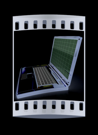 powerbook: Laptop on a black background. The film strip