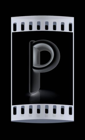 metall: 3D metall letter P isolated on black. The film strip Stock Photo