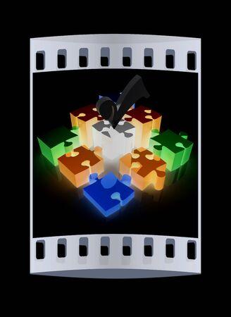 cuatro elementos: Puzzle de los cuatro elementos. Imagen conceptual - una paleta CMYK. La tira de película
