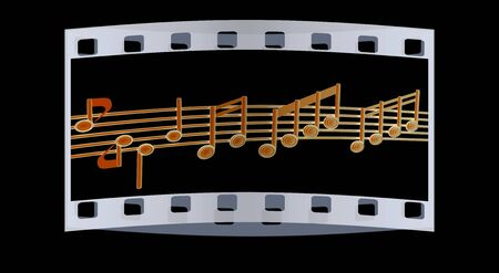 music stave: Various music notes on stave. Blue 3d. The film strip Stock Photo