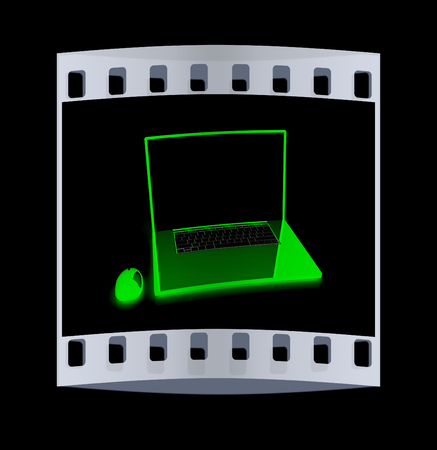 powerbook: Pink laptop on a black background. The film strip