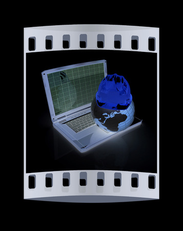geodesist: Hard hat and earth on a laptop on a black background. The film strip