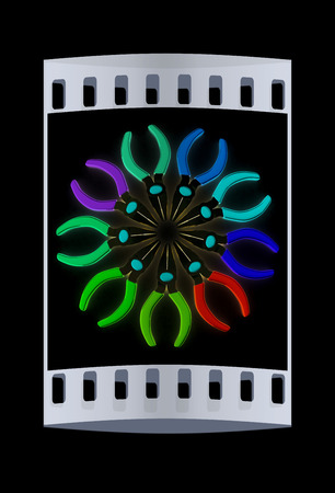 communications tools: colorful pliers to work. The film strip