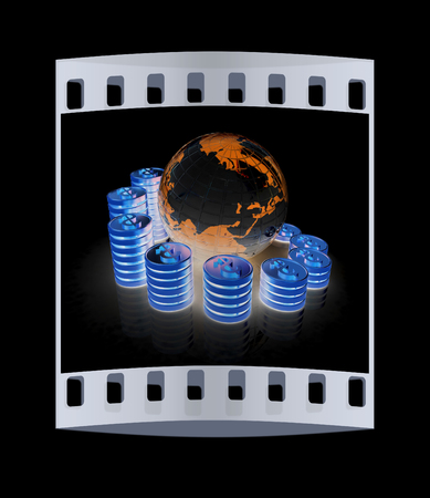 making earth: Gold dollar coin stack around the Earth isolated on black. The film strip