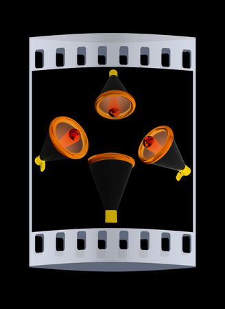 announcement icon: Loudspeakers as announcement icon. Illustration on black. The film strip