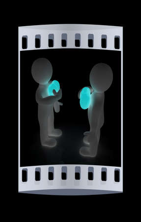 3d mans holding his hand to his heart. Concept: From the heart. The film strip