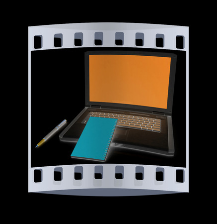 powerbook: laptop and notepad on a black background. The film strip
