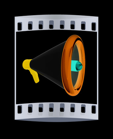 announcement icon: Loudspeaker as announcement icon. Illustration on black. The film strip