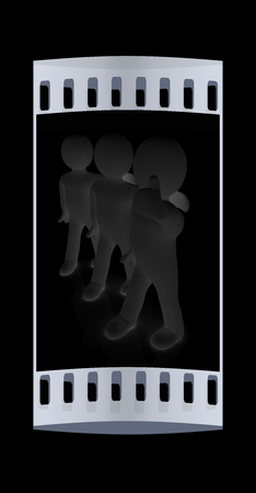 3d mans with thumb up. The film strip Stock Photo