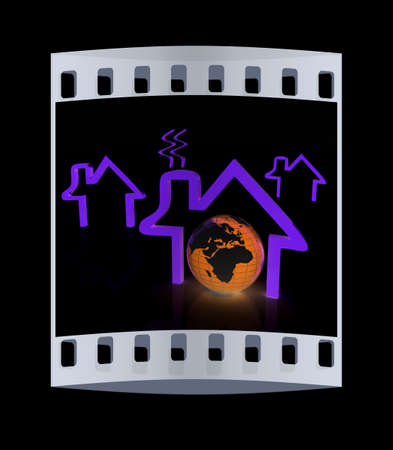 habitable: earth and icon house on black background. The film strip Stock Photo