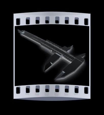 vernier caliper: Vernier caliper on a black background. The film strip