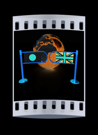 truce: Three-dimensional image of the turnstile and flags of UK and Japan on a black background. The film strip