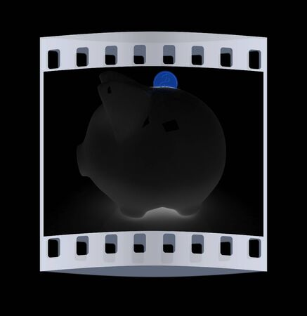 path to wealth: glass piggy bank and falling coins on black background. The film strip
