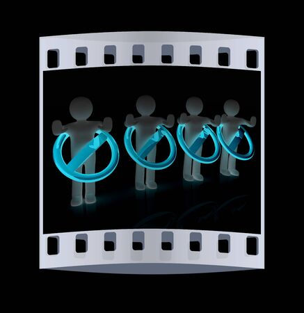 3d persons and stop sign. The film strip