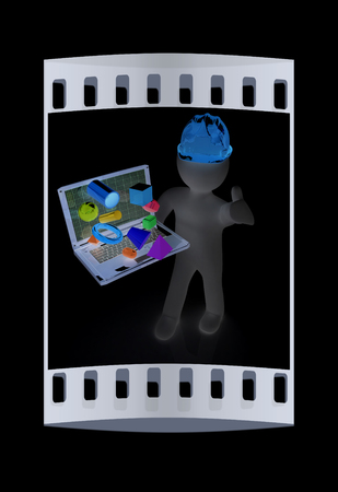 geodesist: 3D small people - an engineer with the laptop presents 3D capabilities on a black background. The film strip