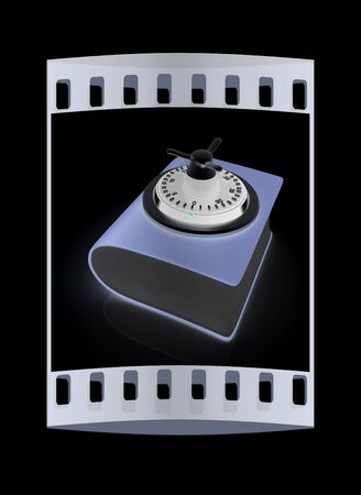 encryption icon: Information security concept. The film strip Stock Photo