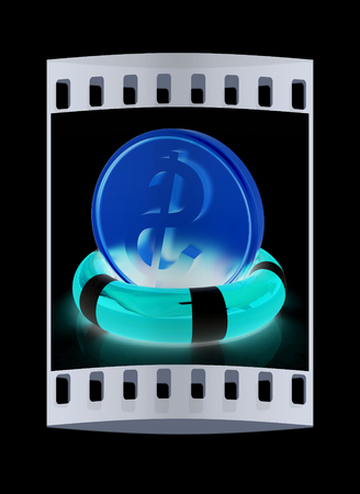 buoyancy: Coin dollar on  lifeline.The best 3d illustration on a black background. The film strip