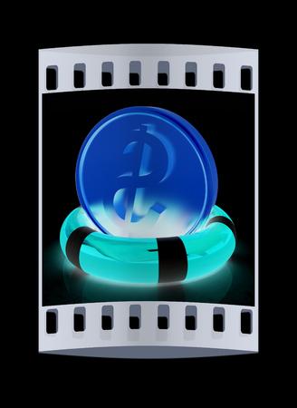 flotation: Coin dollar on  lifeline.The best 3d illustration on a black background. The film strip