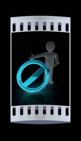 negation: 3d man with prohibition sign. The film strip Stock Photo