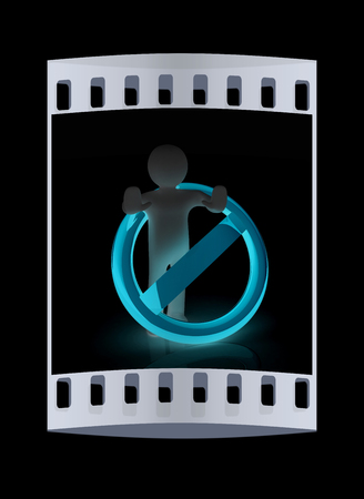 admittance: 3d person and stop sign. The film strip