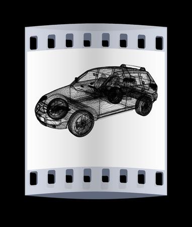 crossover: Model cars. 3d render. The film strip