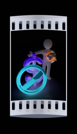 fellows: 3d man with prohibition sign, Earth and dollar. The film strip Stock Photo