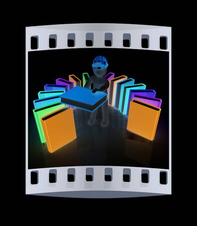 literary man: 3d white man in a hard hat with best technical literature on a black background. The film strip