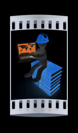 hard working man: 3d man in hard hat sitting on books and working at his laptop on a black background. The film strip
